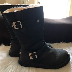 Ugg Australia Black Leather Shearling Lined Boots